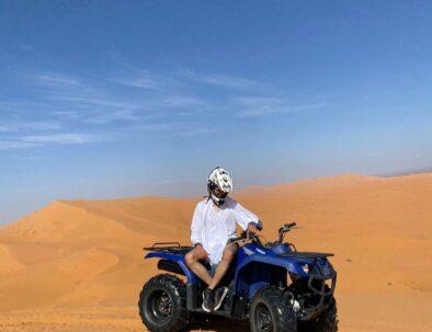 Quad biking on the dunes of Erg Chebbi with our 3 days desert tour from Marrakech to Merzouga