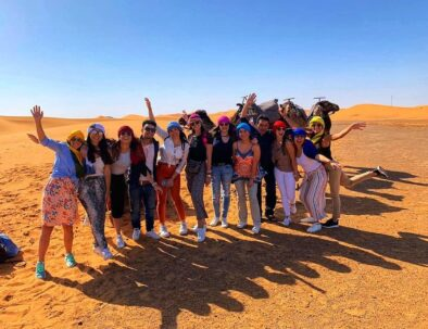 camel trekking in the sahara desert of Merzouga with our 4 days tour from Marrakech to fes