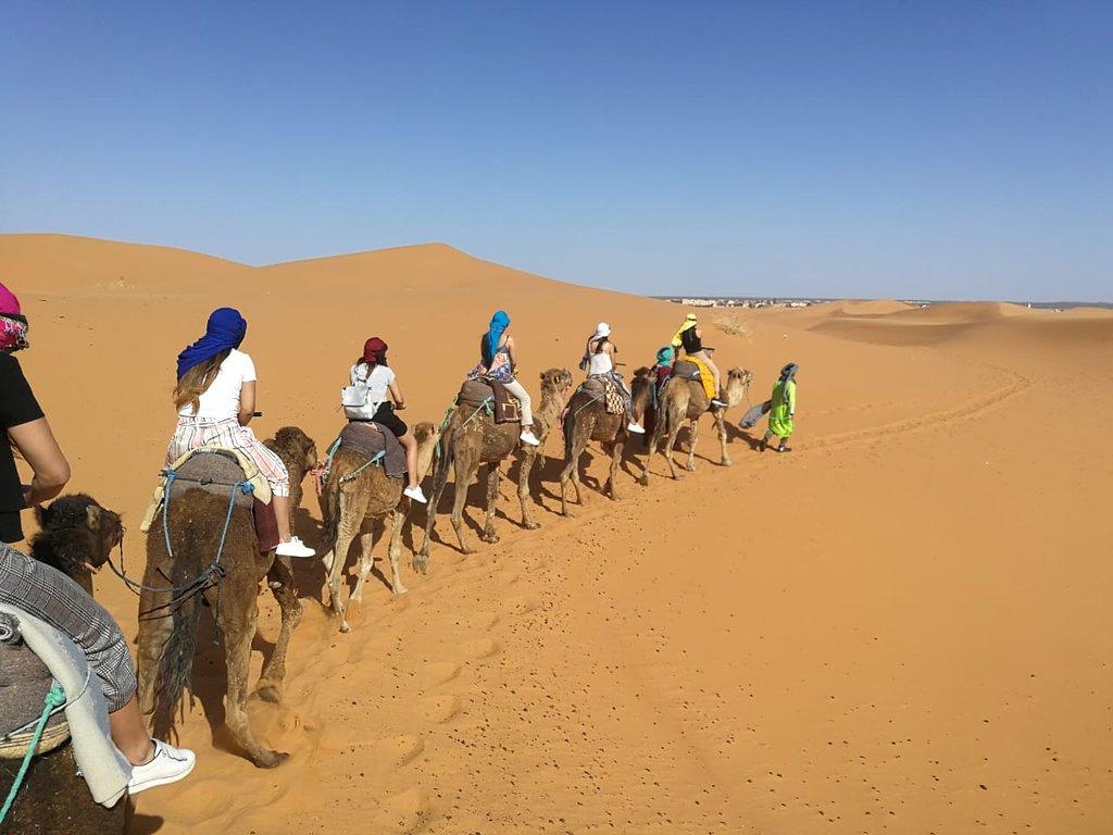 Camel trekking with our 4 days desert tour from Marrakech to Merzouga